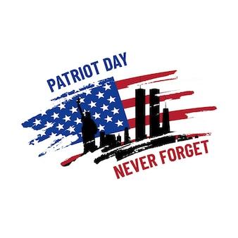Patriot-tagesillustration. wir werden 9\11 neuerlich vergessen. 11. september gedenktag. patriotische vektorgrafik mit amerikanischer flagge und new york