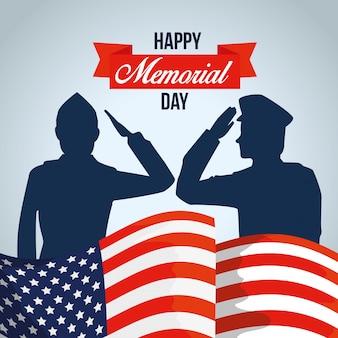 Patriotische soldaten mit usa-flagge und -band