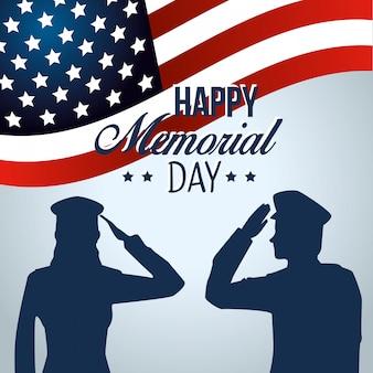 Patriotische soldaten mit usa-flagge zum gedenktag