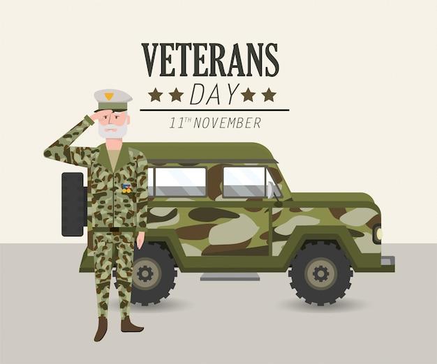 Patriotischer soldat mit uniform- und militärauto