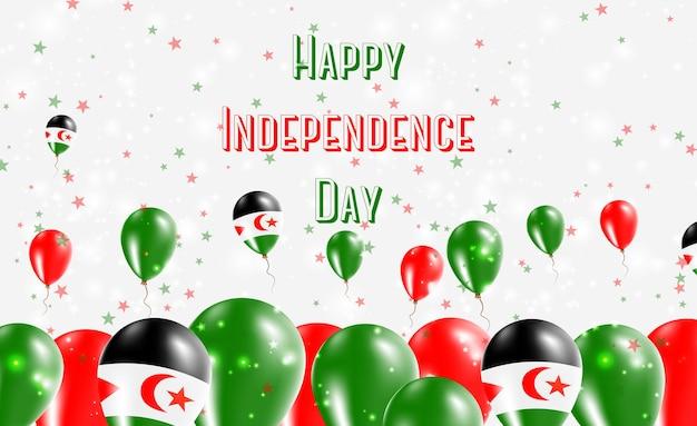 Patriotisches design für den unabhängigkeitstag der westsahara. ballons in den saharauischen nationalfarben. glückliche unabhängigkeitstag-vektor-gruß-karte.
