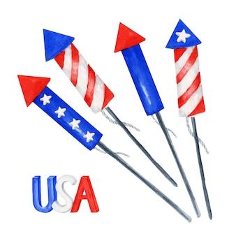 Patriotisches feuerwerk eingestellt. 4. juli amerika feier party aquarell unabhängigkeitstag des usa memorial, flag day party dekoration. blaue rote sterne streifen amerikanische flaggenfarbenillustration
