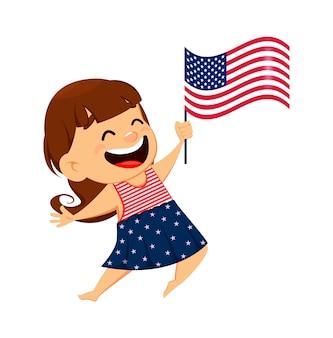 Patriotisches lächelndes mädchen, das usa-flagge hält