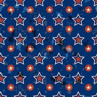 Patriotisches nahtloses muster der amerikanischen weinlese in den amerikanischen nationalfarben mit flecken