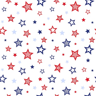 Patriotisches nahtloses muster der roten und blauen sterne patriotischen vereinigten staaten