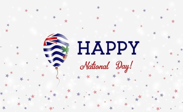 Patriotisches plakat des biot-nationaltages. fliegender gummiballon in den farben der indischen flagge. biot national day hintergrund mit ballon, konfetti, sternen, bokeh und sparkles.