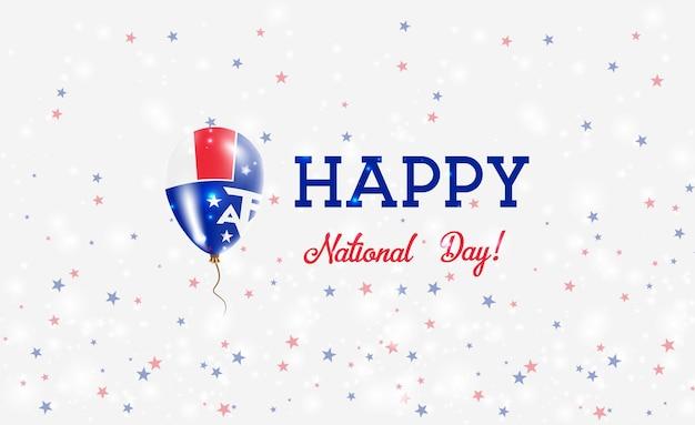 Patriotisches plakat des taaf-nationaltages. fliegender gummiballon in den farben der französischen flagge. taaf national day hintergrund mit ballon, konfetti, sternen, bokeh und sparkles.