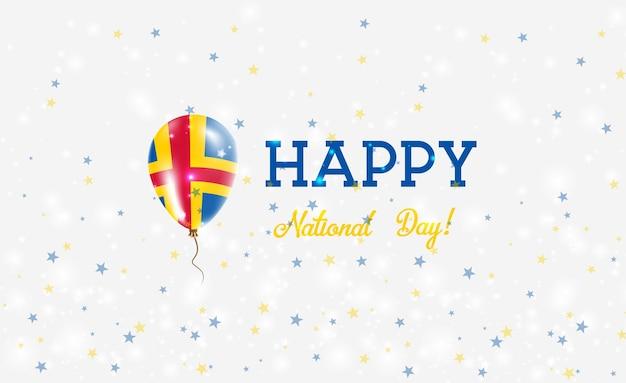 Patriotisches plakat zum aland-nationalfeiertag. fliegender gummiballon in den farben der schwedischen flagge. aland national day hintergrund mit ballon, konfetti, sternen, bokeh und sparkles.
