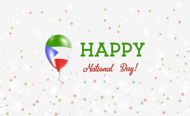 Patriotisches plakat zum nationalfeiertag äquatorialguineas. fliegender gummiballon in den farben der äquatorialen guineischen flagge.