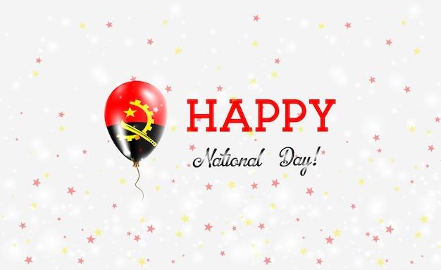 Patriotisches plakat zum nationalfeiertag angola. fliegender gummiballon in den farben der angolanischen flagge. angola national day hintergrund mit ballon, konfetti, sternen, bokeh und sparkles.