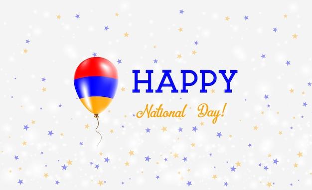 Patriotisches plakat zum nationalfeiertag armeniens. fliegender gummiballon in den farben der armenischen flagge. armenien nationalfeiertag hintergrund mit ballon, konfetti, sternen, bokeh und sparkles.