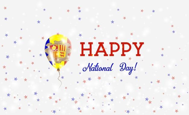 Patriotisches plakat zum nationalfeiertag von andorra. fliegender gummiballon in den farben der andorranischen flagge. andorra national day hintergrund mit ballon, konfetti, sternen, bokeh und sparkles.