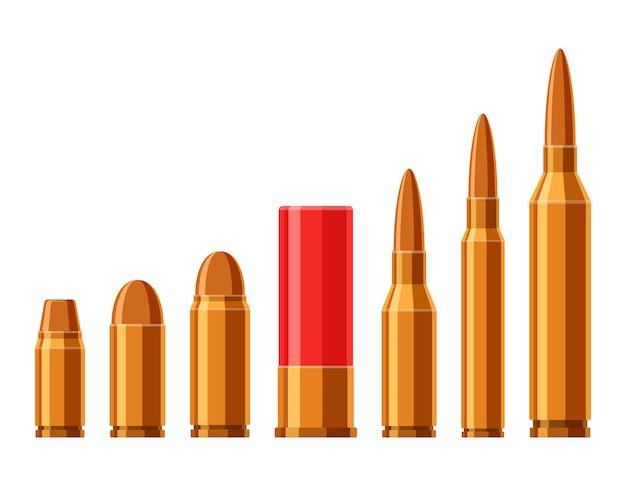 Patronen gesetzt. eine sammlung von kugeln lokalisiert auf weißem hintergrund. arten und größe der waffenmunition im flachen stil.