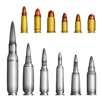 Patronenhülsen - moderne vektorrealistische isolierte objekte auf weißem hintergrund. gold und silber, große und kleine muscheln, patronen unterschiedlichen kalibers, formen und formen. symbol für das treffen des ziels