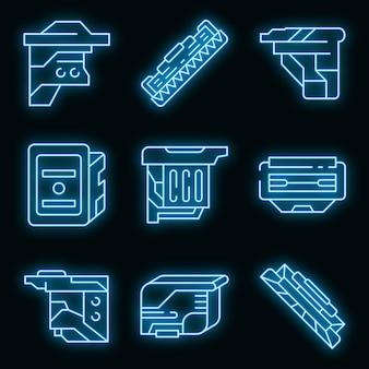 Patronensymbole gesetzt. umrisse von patronenvektorsymbolen neonfarbe auf schwarz