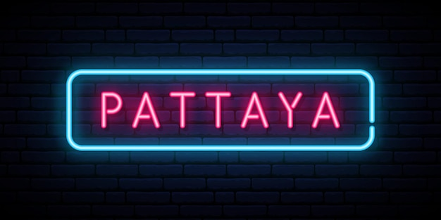 Pattaya-leuchtreklame. helles lichtschild. vektor-banner.