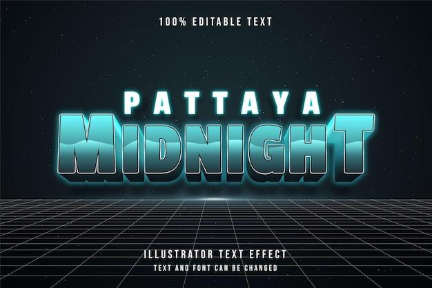 Pattaya mitternacht bearbeitbarer texteffekt mit blauer abstufung