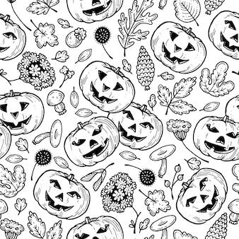Patten mit kürbissen für halloween