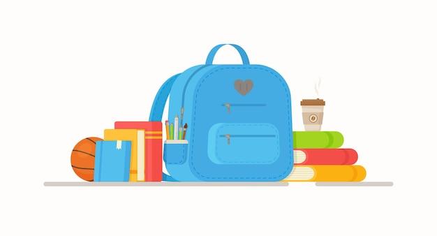 Pause in der schule. rucksack gefüllt mit schreibwaren.