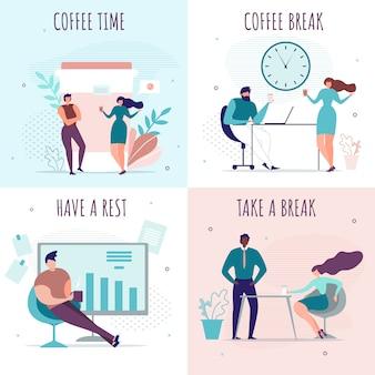 Pausenzeit und pause im büro cartoon karten set