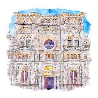 Pavia italien aquarell skizze hand gezeichnete illustration