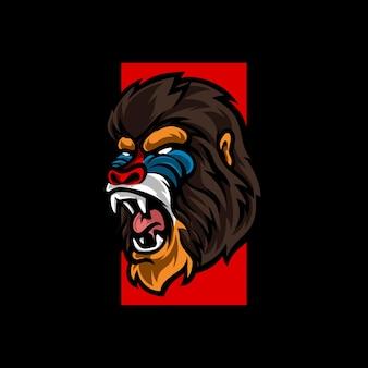Pavian e sport maskottchen logo