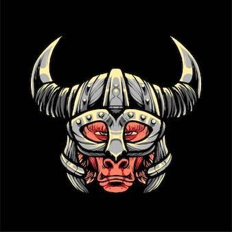 Pavian viking vector illustration, moderner cartoon-stil, geeignet für t-shirts oder druckprodukte