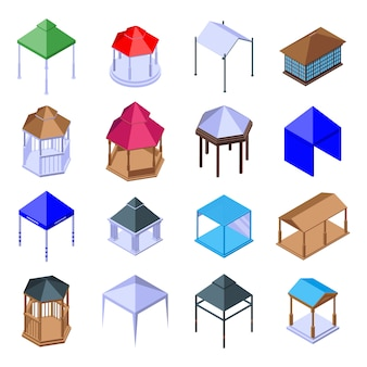 Pavillon icons set, isometrische stil