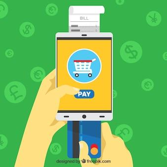 Pay online, grüner hintergrund mit münzen