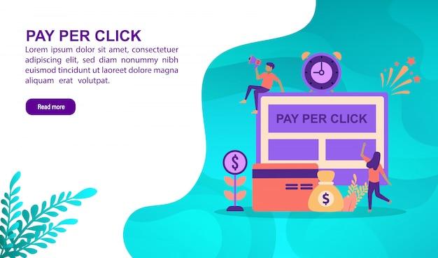 Pay-per-click-illustration konzept mit charakter. zielseitenvorlage