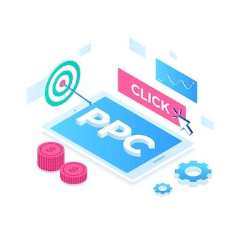 Pay-per-click-illustrationskonzept.