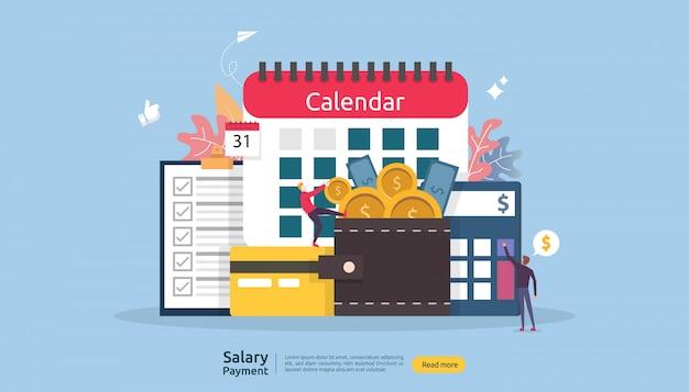 Payroll income-konzept. lohnzahlung jahresbonus. auszahlung mit papier, taschenrechner und personen-charakter.