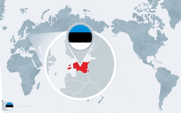 Pazifik zentrierte weltkarte mit vergrößertem estland. flagge und karte von estland.