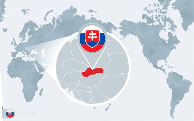 Pazifik zentrierte weltkarte mit vergrößerter slowakei. flagge und karte der slowakei.