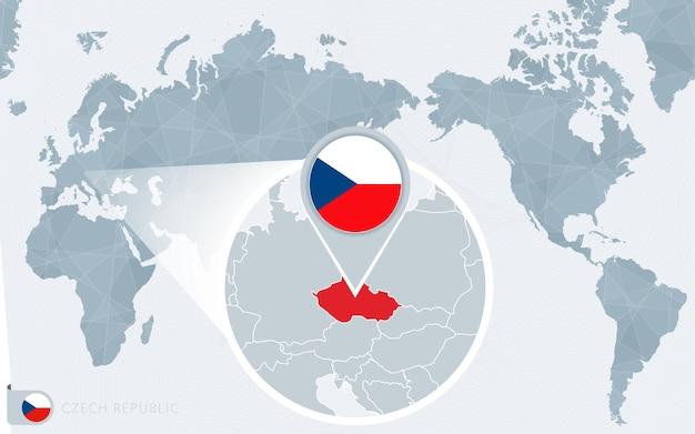 Pazifik zentrierte weltkarte mit vergrößerter tschechischer republik. flagge und karte der tschechischen republik.
