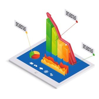 Pc-analyse- oder infografik-vorlage mit einem 3d-balkendiagramm mit einem aufwärtstrend auf dem touchscreen eines tablet-pcs zusammen mit einem kreisdiagramm und einem schwankenden diagramm mit textfeld-vektorillustration