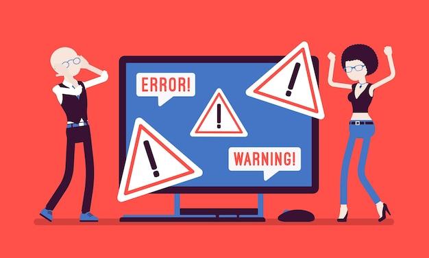 Pc-fehler, warnungen für benutzer