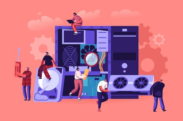 Pc-hardware-fixing-service-konzept. karikatur flache illustration
