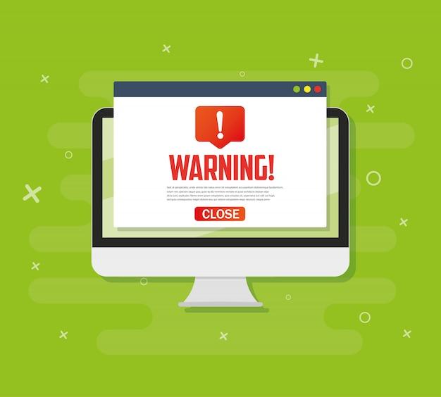 Pc-warnungsbenachrichtigungskonzeptwarnung, spam, viren, internet-fehler, trojaner