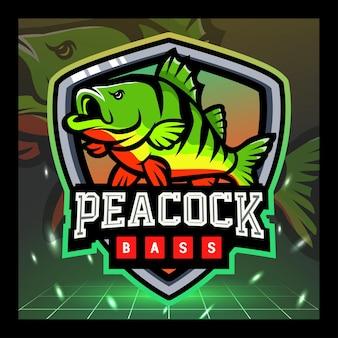 Peacock-bass-maskottchen esport-logo-design