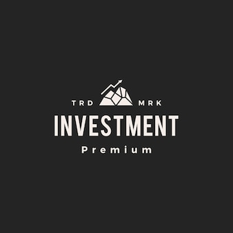 Peak investment pfeil diagramm hipster vintage logo symbol illustration