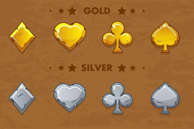 Peak, tref, chirva und tamburin, alte goldene und silberne pokersymbole