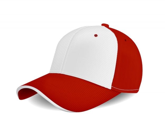 Peaked cap mit roter farbe für werbung oder druck isoliert auf weißem hintergrund