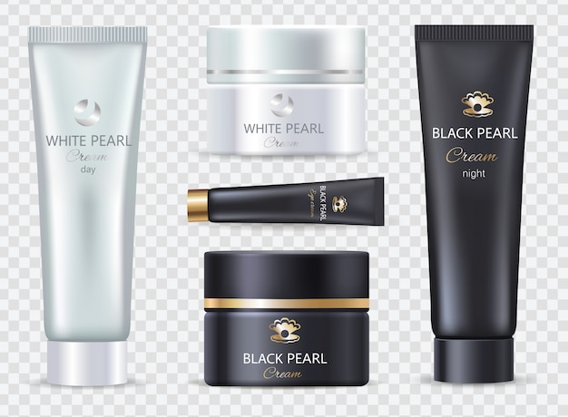Pearl black night und white day cream set