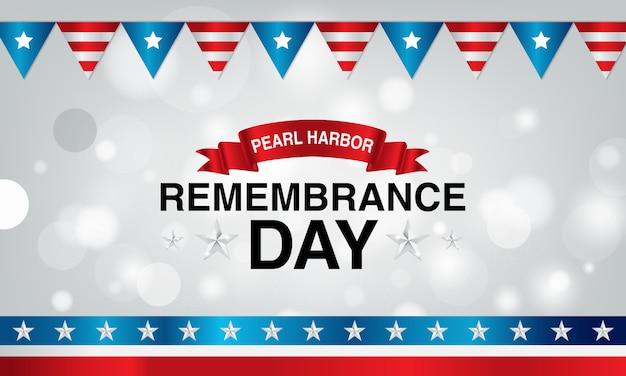 Pearl harbor erinnerungstag hintergrund mit krawatte und flagge der amerikanischen flagge