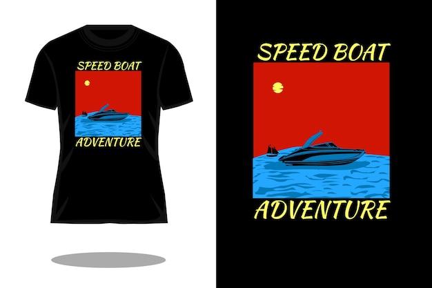 Peed boat abenteuer silhouette retro-t-shirt-design