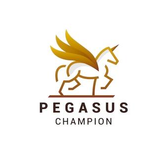 Pegasus-logo-design der goldenen linie