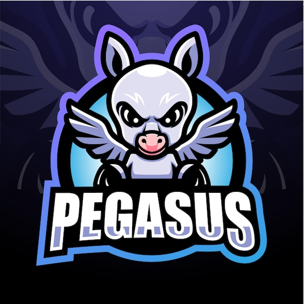 Pegasus maskottchen esport logo design
