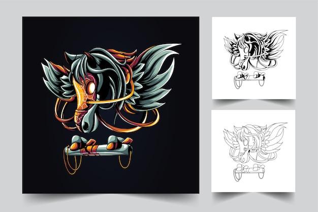 Pegasus maskottchen logo