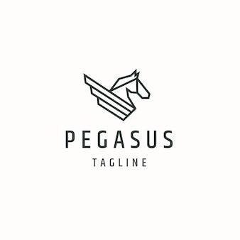 Pegasus-pferdeflügel-logo-symbol-design-vorlage flacher vektor